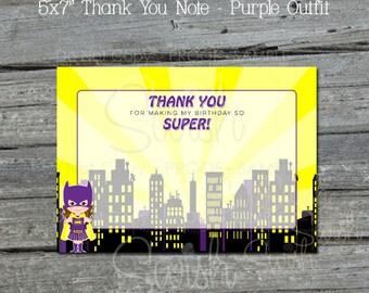 Batgirl Thank you Cards   Bat Girl Printable Thank You Notes   Digital Download   Super Hero   Digital download   Instant Download