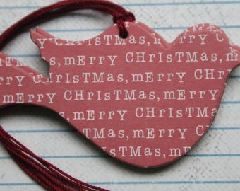 11 Bird Tags Merry Christmas red patterned paper over chipboard