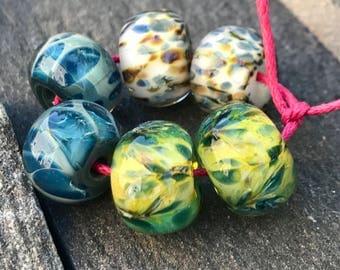 Lampwork Beads, Earring Pairs, Blue Green White