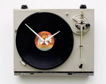 Record player clock, record album clock, music lover clock, Bad Company, upcycled large wall clock, vintage, Recycled Turntable Clock