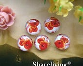 SALE - 30% OFF Glass Cabochon, 8mm 10mm 12mm 14mm 16mm 20mm 25mm 30mm Round Handmade photo glass Cabochons  (Poppies) -- BCH136A