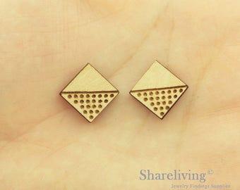 6pcs Wooden Rhombus Charm / Pendant, DIY Laser Cut Mini Blank Wood Charm, Perfect for Earring  - HWD512D