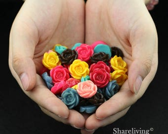 Clearance Sale -  Lots of 100pcs Mixed Color 3D Resin Rose Flower Cabochons Charms  -- CLS004G