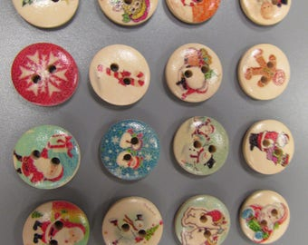 Christmas Wooden Buttons X 4
