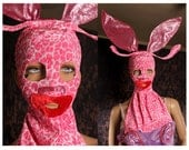 Pink Bunny Face Mask, big oversize bunny ears, cosplay headband, large red lips, Halloween Costume, fetish party, Wasteland Festival, playa