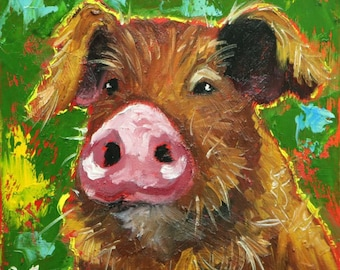 Pig painting 259 12x12 inch original oil painting by Roz