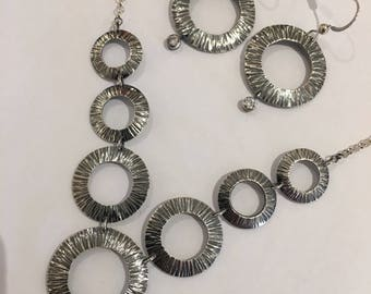 7 Open Circles Necklace and Matching Earrings in Oxidized and Textured Sterling Silver with Cubic Zirconia Accents, Handmade Necklace Set