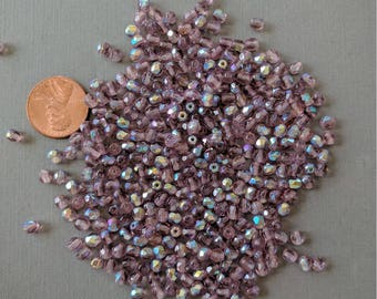 50 Czech Glass Firepolished Light Amethyst AB Finish Faceted Crystals 4mm