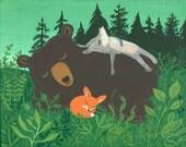 Bear, Fox and Wolf Art Print - Whimsical Outsider Forest Folk Artwork - Teal Blue Green Woodland Animals Sleep Nap Wall Decor