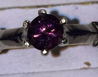 Deep pink spinel silver ring size 7