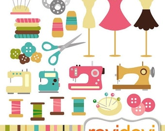 50% OFF SALE Sewing clip art - Digital clipart.. Happy Sewing.. Commercial use - sewing machine, mannequin, thread, buttons digital images
