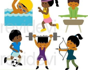 35% OFF SALE Summer Olympic dark skin kids clipart - sport clip art - Olympic clipart - commercial use, digital images