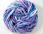 gemstone  .. hand spun art yarn, wool yarn, handspun, soft rainbow knitting wool, weaving, crochet supply