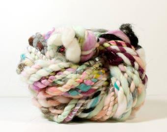 3ply star shine .. art yarn, hand spun yarn, handspun art yarn, wool yarn, boucle yarn, bulky yarn, handspun wool yarn,