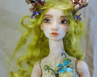 Elf Fairy Doll BJD polymer clay OOAK Sarah Pierzchala
