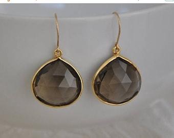 Smokey Quartz Earrings, Gemstone Earrings, Gold Vermeil, Brown, Dangle Earrings, Quartz Earrings, Gold Earrings,Gemstone Jewelry