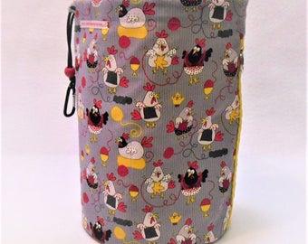 XL Knit Sack in Knittin' Chickens