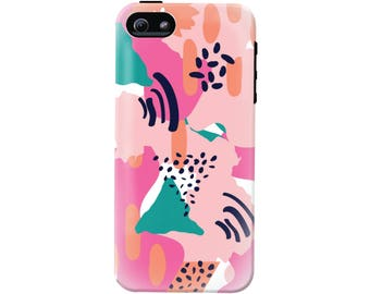 Modern Tropical Cell Phone Case (fits all types of phones) - Pink Abstract Pattern - Tough case with rubber bumper and liner