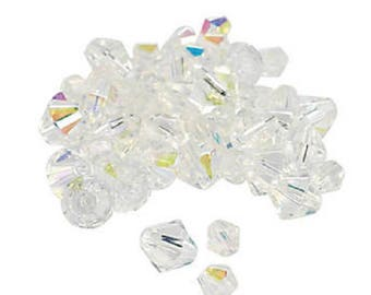 Clear Aurora Borealis Cut Crystal Bicone Beads, 4mm to 6mm, pack of 48