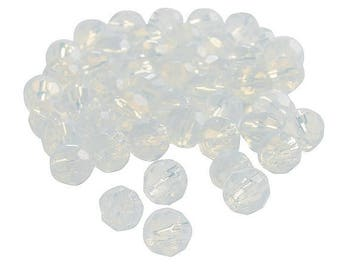 Moonstone Cut Crystal Round Beads, 8mm with 1mm hole, pack of 48