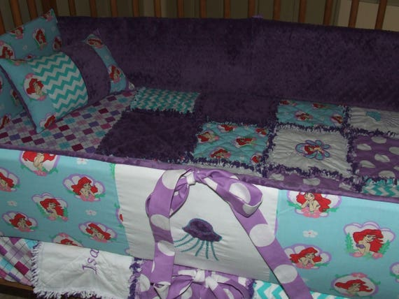 Custom Little Mermaid Rag Quilt Crib Skirt Pillow Sheet Bumper