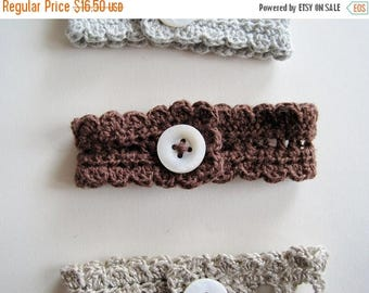 First Fall Sale - 15% Off Rustic Romantic Lace Wristlet in Teddy Bear Brown - handmade cotton linen lace with button fastener