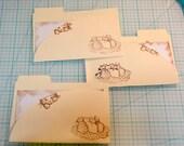 mini file folders/ cat lovers/  3 handmade pockets / art journals/ junk journals / paper crafting supplies / collage supplies / scrapbooks/