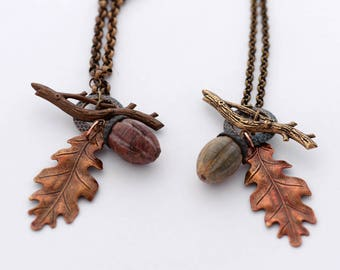 Acorn Toggle Necklace, Oak Leaf Necklace, Autumn Necklace, Fall Jewelry, Woodland Necklace, HandmadeAcorn Charm jewelry, Fall Leaves Jewelry