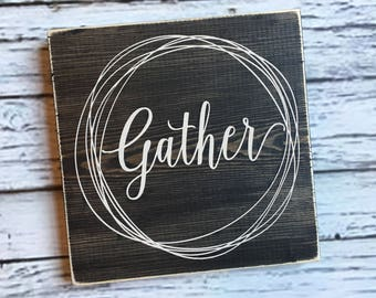 Gather sign   gather wood sign   gather   kitchen sign   Fall decor   Thanksgiving decor   wall art   Style# HM112