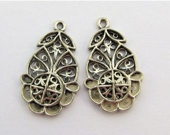 SHOP SALE Finely Detailed and Unique Bali Sterling Silver Fancy Open Flower Pendant Charms Connector Chandelier Links 22mm (2 pieces)