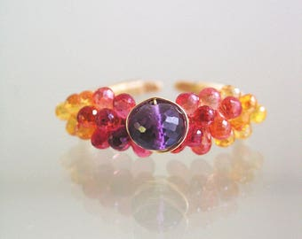 Orange Sapphire and Amethyst Ring in 14k Gold Fill, Gemstone Encrusted Wire Wrapped Ring, Size 11, Artisan Made