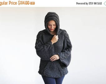 20% WINTER SALE Plus Size Knitting Sweater with Hoodie by Afra