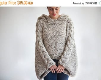 20% WINTER SALE Tweed Beige Angel Sweater Capalet with Hoodie - Over Size Plus Size Tweed Beige Cable Knit by Afra