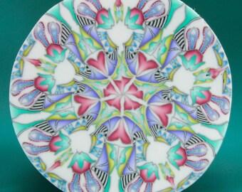 Large Circle Kaleidoscope Polymer Clay Cane -'Summer Sunrise' series (50bb)