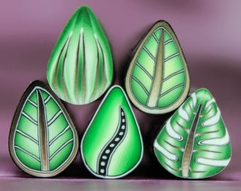 CLEARANCE SALE Set of 5 Polymer Clay Mini Leaf Canes (AA)