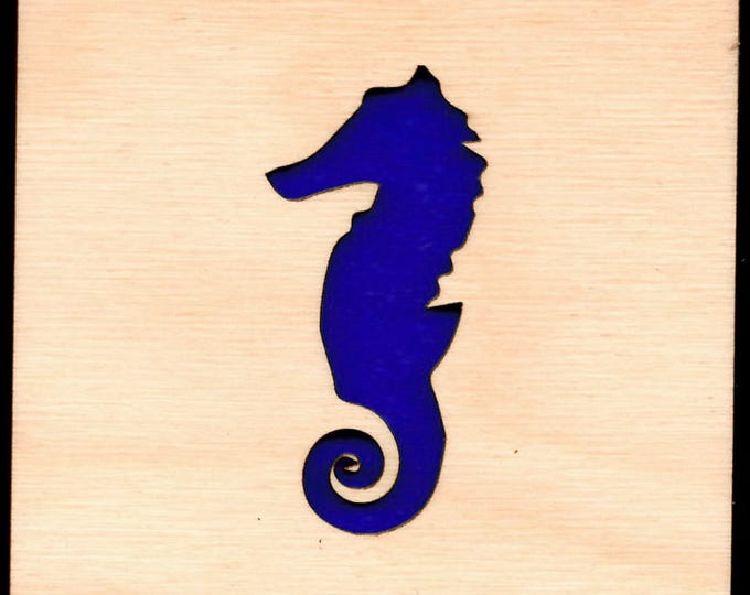 4 Seahorse  Coasters wooden laser cut natural eco-friendly Waterproof plywood birch and Felt