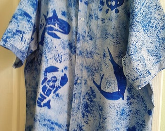 Hand Painted men's button down shirt