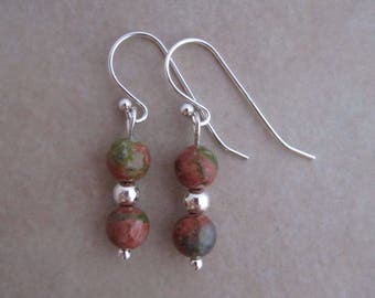 unakite sterling silver earrings