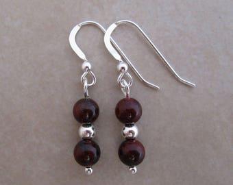 mahogany obsidian sterling silver dangle earrings