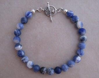 sodalite bracelet sterling silver blue
