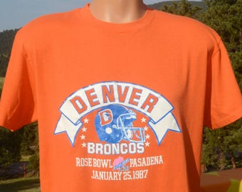 vintage 80s t-shirt denver BRONCOS football superbowl xxi tee shirt Large XL soft thin 1987