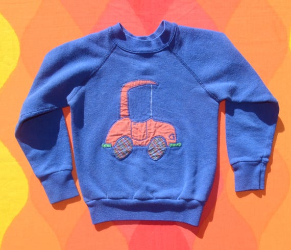 vintage 80s sweatshirt kids CAR applique preppy nascar boyls youth children 6 Small 8