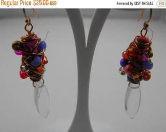 Memorial Day Sale Playful Gold and Quartz Crystal Mixed Media Drop Earrings