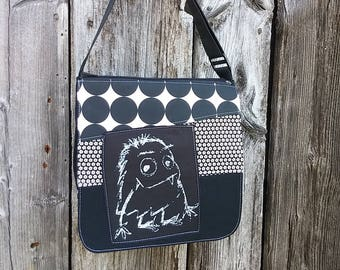 Monster flap for MEDIUM messenger bag, changeable flap collection**FLAP ONLY**