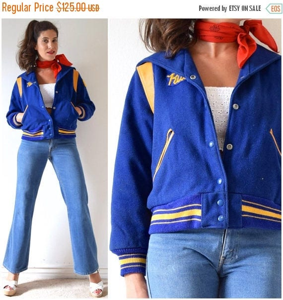SALE SECTION / 50% off Vintage 80s Blue Wool and Mustard Yellow Leather Letterman Jacket (size small, medium)