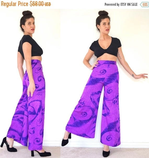 SUMMER SALE / 20% off Vintage 70s Purple Abstract Print High Waisted Palazzo Pants (size xs)