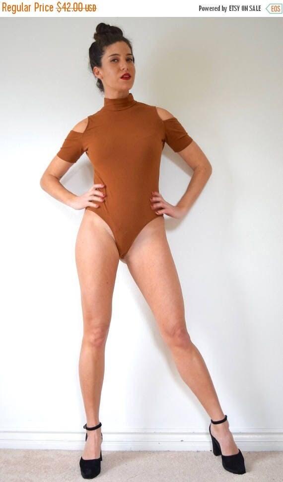 SUMMER SALE / 20% off Vintage 80s 90s Rust Brown Mock Turtleneck Shoulderless Thong Leotard (size medium, large)