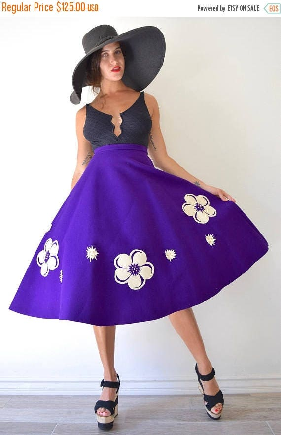 SUMMER SALE / 20% off Vintage 50s 60s Purple Wool Felt High Waisted Semi Circle Skirt with Cut Out Flower Rhinestone Embellished Appliques (