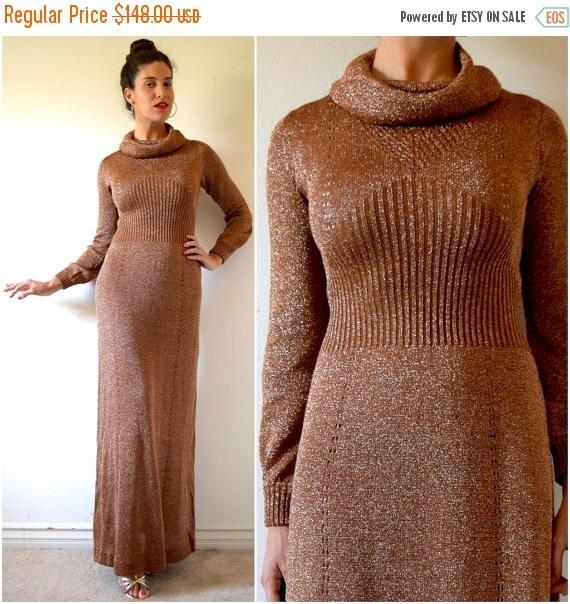 SUMMER SALE/ 30% off Vintage 70s Metallic Copper Lurex Knit Cowl Neck Sweater Dress (size small, medium)