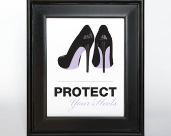 Protect Your Heels Sign Printable Custom DIY You Print Ceremony Reception Sign Madly Modern Quirky Purple Lavender